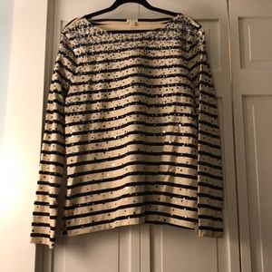 Navy and cream striped top with sequins